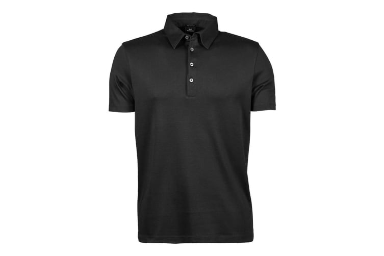 Tee Jays Mens Pima Short Sleeve Cotton Polo Shirt (Black) (XL)
