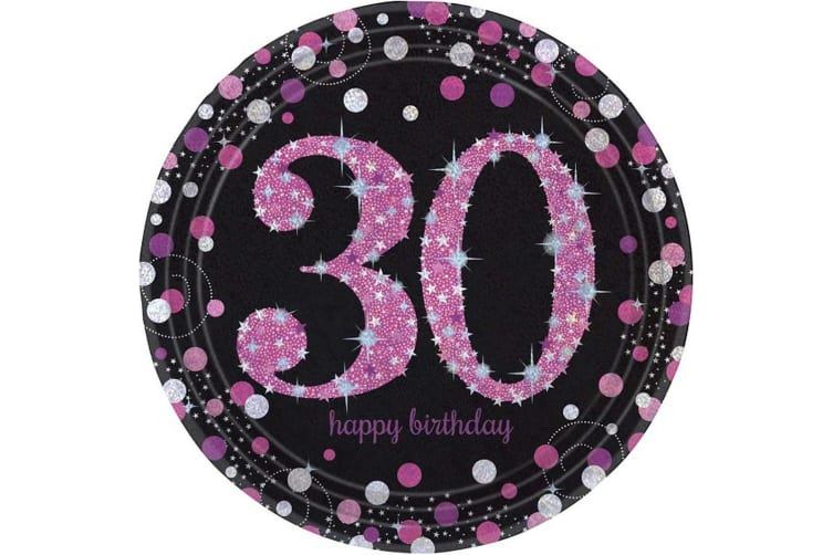 Amscan Sparkling Pink Celebration 30th Birthday Paper Plates (Pink) (9 Inch)