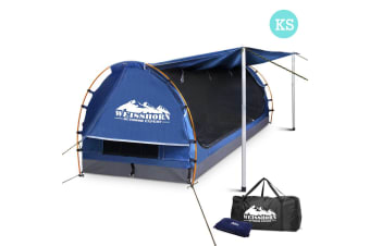 King Single Camping Canvas Swag with Mattress and Air Pillow (Blue)
