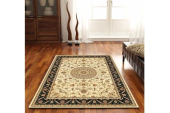 Medallion Rug Ivory with Black Border 150x80cm