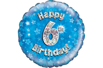 Oaktree 18 Inch Happy 6th Birthday Blue Holographic Balloon (Blue/Silver)