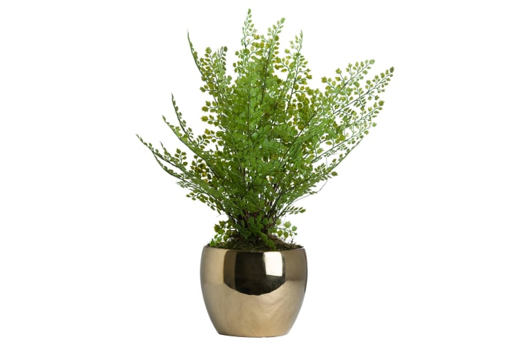 Hill Interiors Artificial Boston Fern In Golden Pot (Green) (One Size)