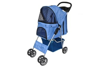vidaXL Pet Stroller Travel Carrier Blue Folding