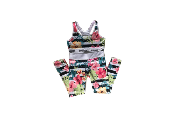 2 Pieces Floral Print Tracksuit Yoga Legging Crop Top Suit For Mother And Daughter - 1 L