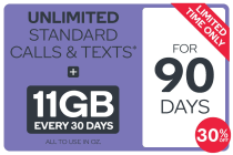 Kogan Mobile Prepaid Voucher Code: LARGE (90 Days | 11GB Per 30 Days)