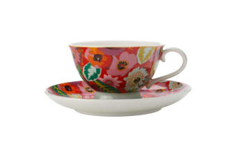 Maxwell & Williams Teas & C's 200ml Footed Tea Cup w  Saucer Set Poppy Red
