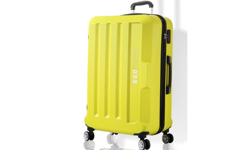 Luggage TSA Hard Case Suitcase Travel Lightweight Trolley Carry Bag Yellow 28""