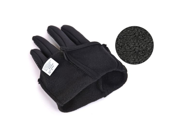Outdoor Skiing Cold-Proof Touch Screen Sports Thickening Long-Fingered Gloves - Blue Black L