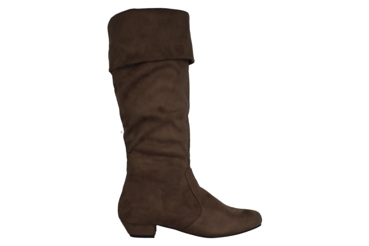 Spot On Womens/Ladies Mid Heel High Leg Boots With Turn Over Cuff (Taupe) (5 UK)