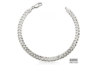 .925 Made In Italy Curb Link Chain 4mm Bracelet-Silver