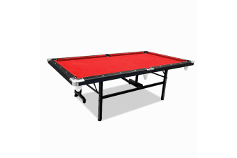 7FT Foldable Pool Table Red Felt Billiard Table Free Accessory for Small Room