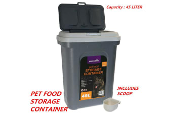 Pet Puppy Dog Cat Food Storage Container With Scoop Dry Dispenser Large 45L