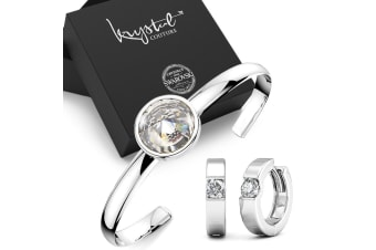 Boxed Modern Bangle and Earrings Set Embellished with Swarovski crystals
