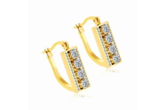 Drop Earrings In Single Row Pave- Gold
