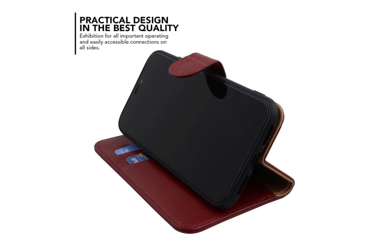 Fashion Red Cowhide Genuine Leather Wallet For iPhone XS MAX Case
