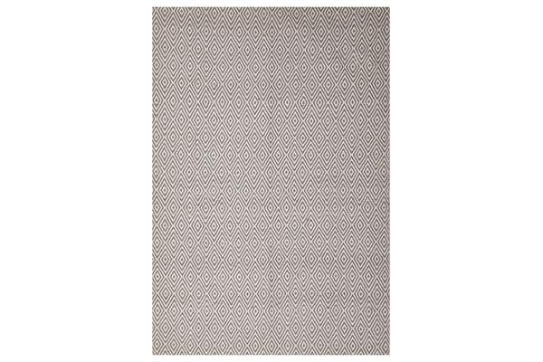 Modern Flatweave Diamond Design Grey Rug 225x155cm