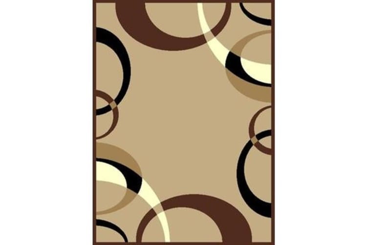 Cool Beige and Brown Border Pattern Rug 230x160cm