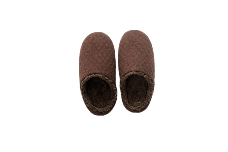 Comfy Fuzzy Knit Cotton Memory Foam House Shoes Slippers - Brown Brown 31.5Cm(42-43)