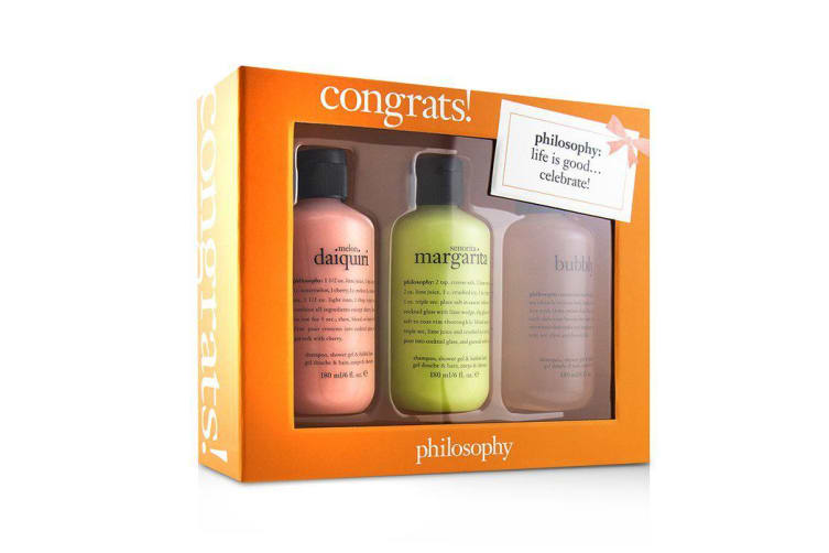 Philosophy Congrats! 3-Piece Shower Gel Set: 1x Senorita Mrgarita 180ml + Melon Daiquiri 180ml + Bubby 3x180ml