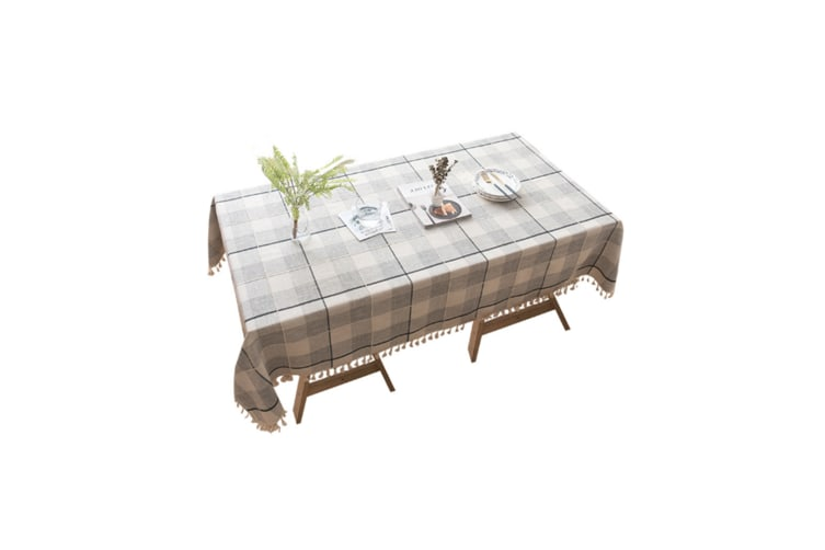 Lattice Cotton And Linen Tablecloth Wrinkle Prevention Mildew Proof Tablecloth Black 140*140Cm