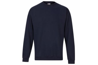 RTXtra Mens Classic Plain Crew Neck Sweatshirt Top (Navy)