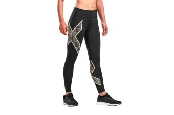 2XU Women's Mid-Rise Compression Tights (Black/Scribe Champange)