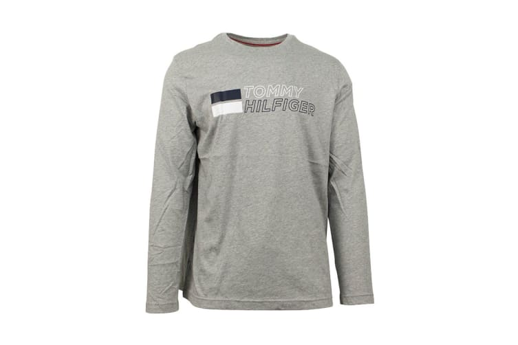 Tommy Hilfiger Men's Long Sleeve Graphic Tee (Grey Heather, Size XL)