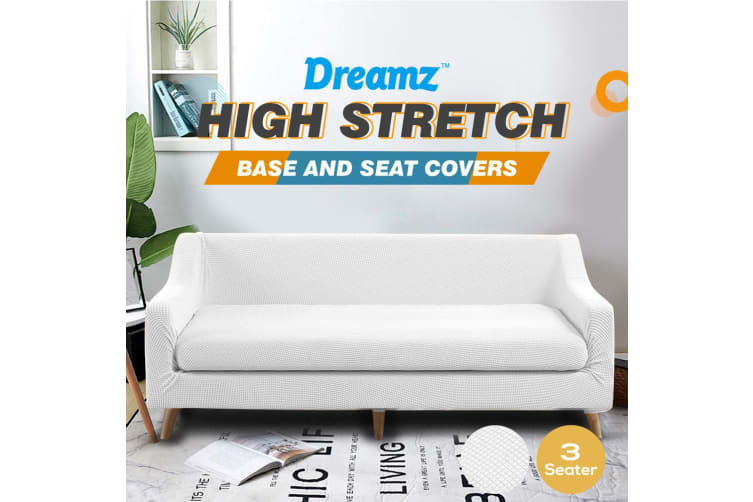 Dreamz Couch Sofa Base & Seat Cover Stretch Protector Slipcover 3 Seater White