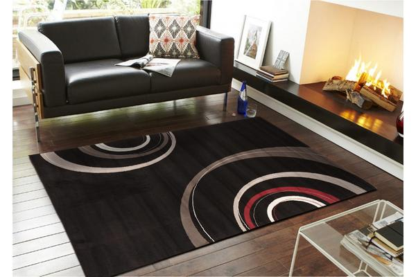Retro Waves Rug Black 230x160cm