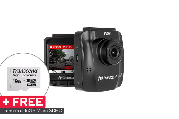 Transcend DrivePro 230 Dash Cam with Sony Exmor Sensor, GPS, Wi-Fi and FREE 16GB MLC Memory Card (TS16GDP230M)