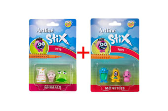 Artline Stix 6PK Monsters /Animals Toys for Drawing Pens/Markers/Build/Play Kids
