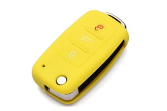 Protective Silicone Key Cover Keyless Entry Remote Fob Shell Yellow