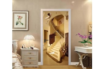 3D Stairs Angel Bird 88 Door Mural Self-adhesive Vinyl