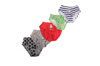 Childrens/Boys Football/Star Design Cotton Briefs (Pack Of 5) (Red/Grey/Green)