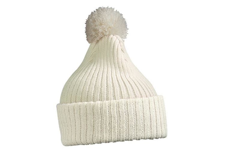 Myrtle Beach Adults Unisex Knitted Cap With Pompom (Off White) (One Size)