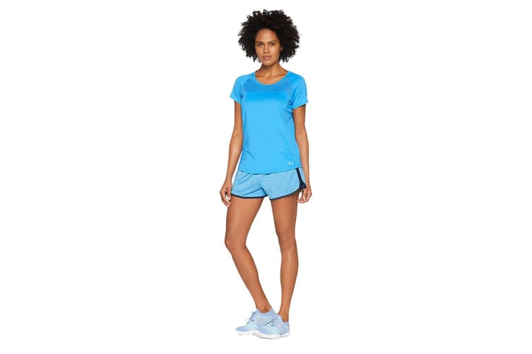Under Armour Women's Fly-by T-Shirt (Mako Blue/Reflective, Size Extra Small)