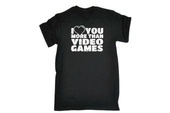 123T Funny Tee - More Than Video Games - (X-Large Black Mens T Shirt)