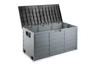 290L Plastic Outdoor Storage Box Container Weatherproof (Black)