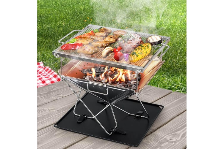 Camping Fire Pit BBQ Portable Folding Stainless Steel Stove Outdoor
