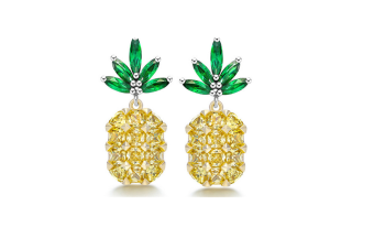 Woman Gold-Plated Trim Pineapple Puncture Tropical Yellow Zircon Earrings