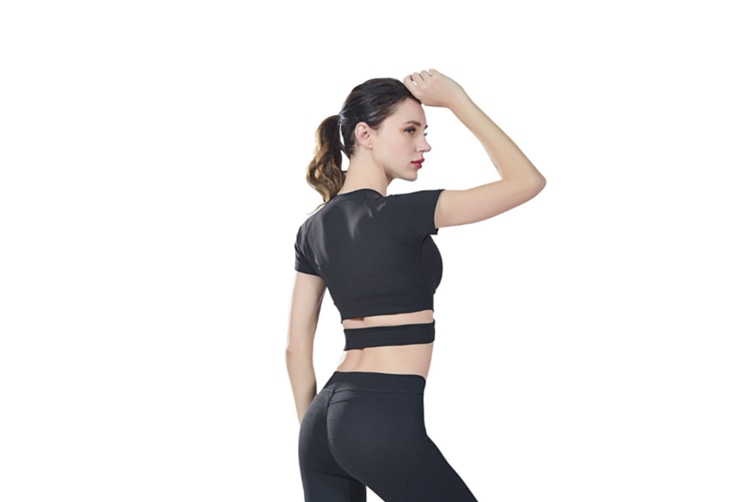 Short Sleeve Crop Tops For Women Workout Yoga Gym Top Lounge T Shirts Black M
