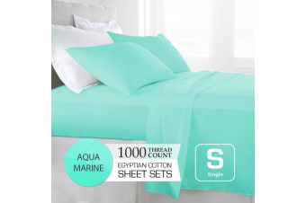Single Size Aquamarine 1000TC Egyptian Cotton Sheet Set
