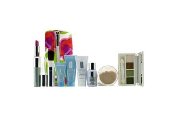Clinique Travel Set: Laser Focus + City Block + Turnaround Mask + Concentrate + Face Powder #20 + 4 Colors Eye Shadow + Mascare & Lipstick #43 + Brush + Bag (8pcs+1bag)