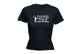 123T Funny Tee - How You Place The Blame - (X-Large Black Womens T Shirt)