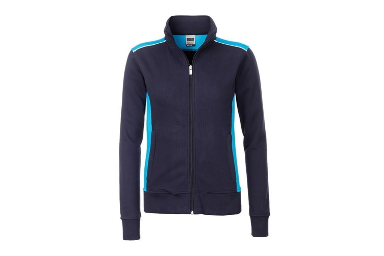 James and Nicholson Womens/Ladies Workwear Level 2 Sweat Jacket (Navy/Turquoise) (S)