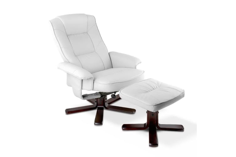 Artiss PU Leather Wood Armchair Recliner - White