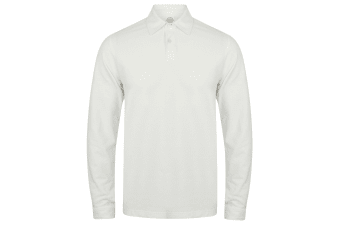 Skinni Fit Mens Long Sleeve Stretch Polo Shirt (White)