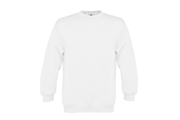B&C Childrens/Kids Plain Crew Neck Sweatshirt (Pack of 2) (White) (7-8 Years)