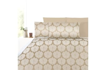 300TC Beige Damask Jacquard Quilt Cover Set King by Accessorize