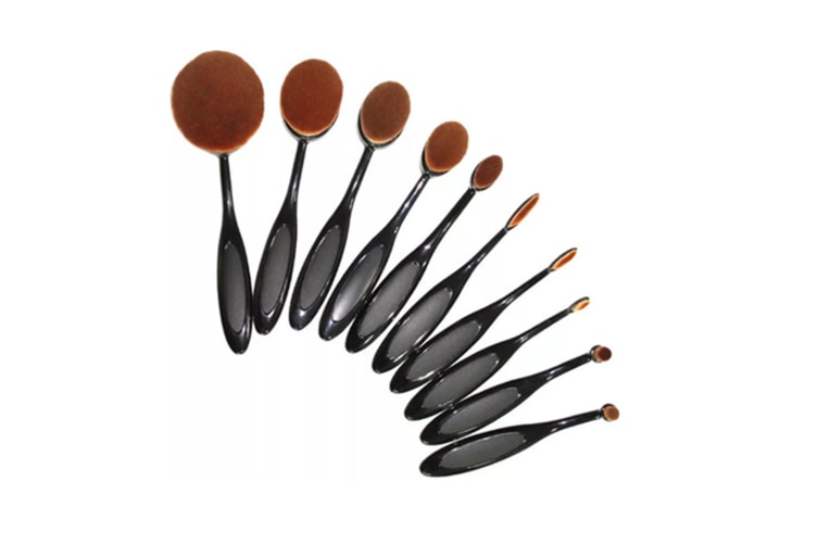 Professional Touch Premium Oval Makeup Brush Set Of 10 Pcs In A Box